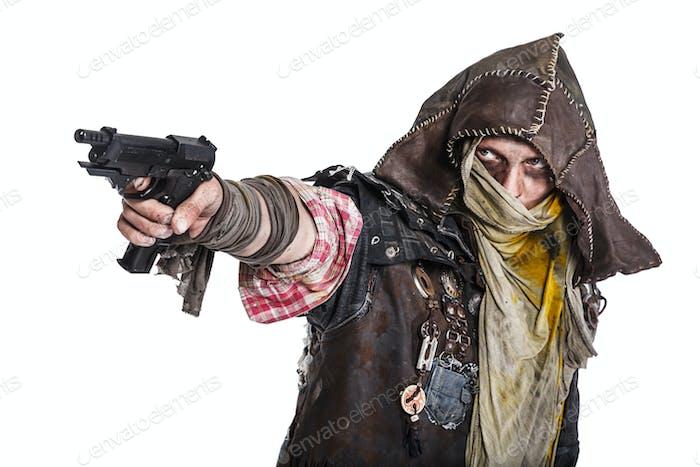 post apocalypse survivor aiming a gun