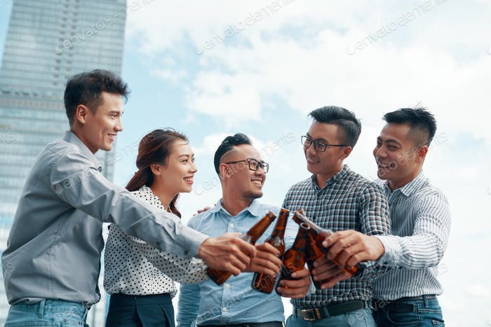 Business people celebrating successful contract