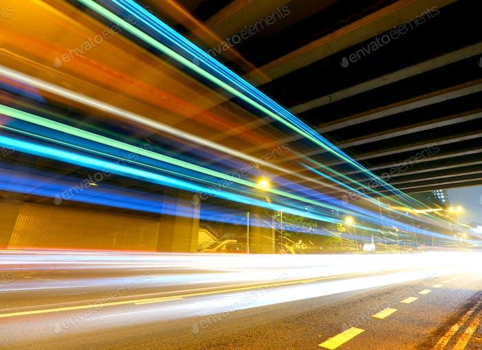traffic light trail at night