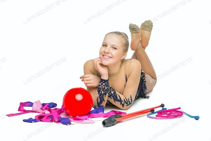 Beautiful teenage gymnast girl