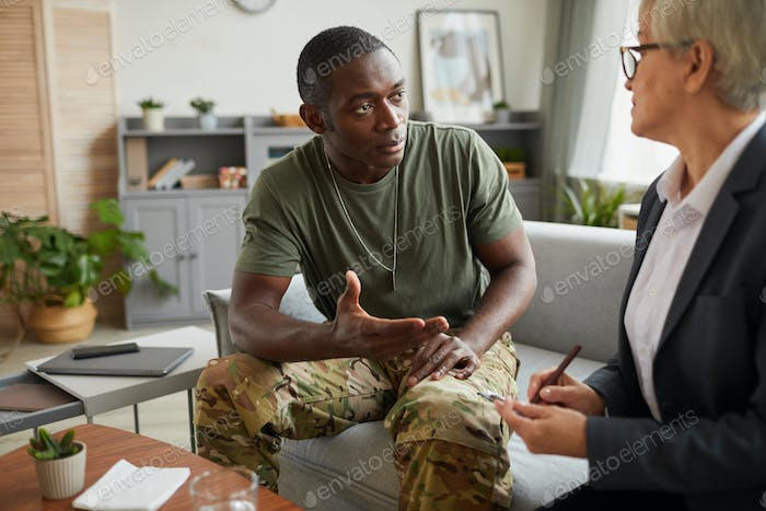 Soldier during counseling session