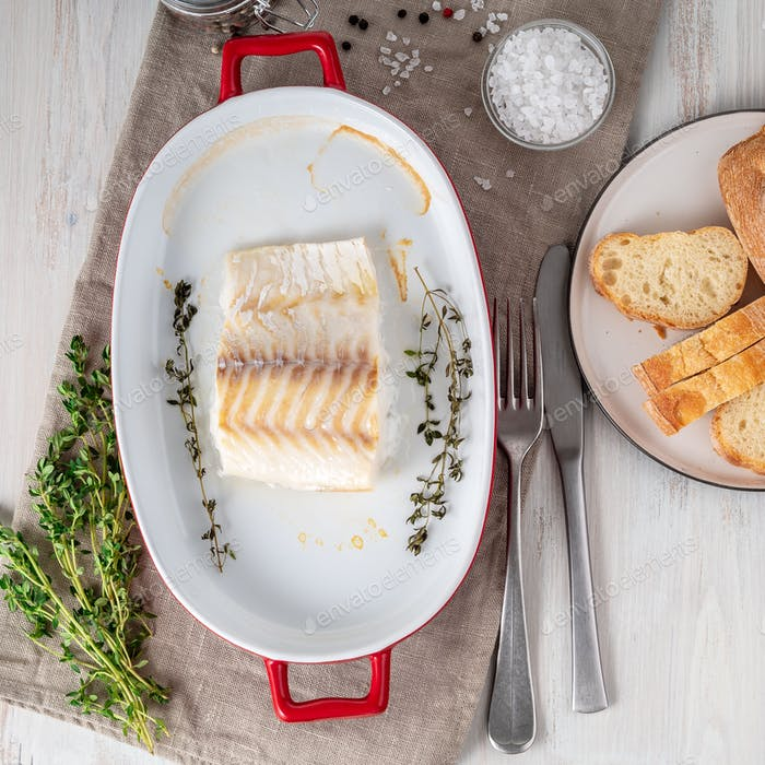 cod fish fillet, freshly cooked in oven