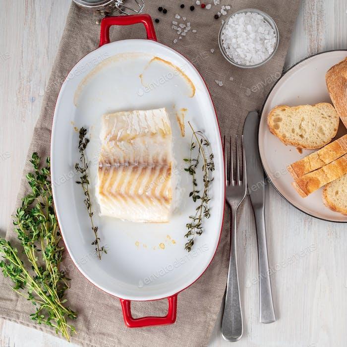 Kabeljaufilet, frisch im Ofen gekocht