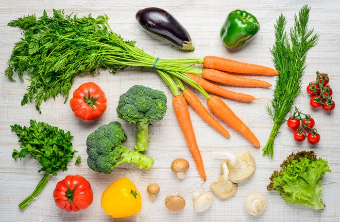 Gesunde Bio-Lebensmittel und Gemüse