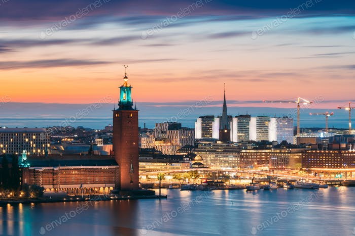 Stockholm, Sweden. Scenic Skyline View Of Famous Tower Of Stockholm City Hall And St. Clara Or Saint