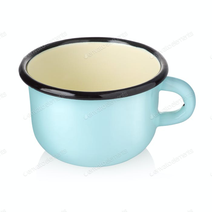 Enamel cup isolated