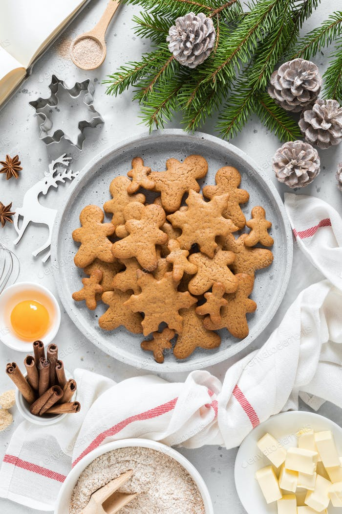 Christmas, New Year, X-mas, Noel or X-mas baking culinary background, recipe gingerbread cookies