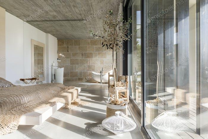 Multifunctional bedroom in villa