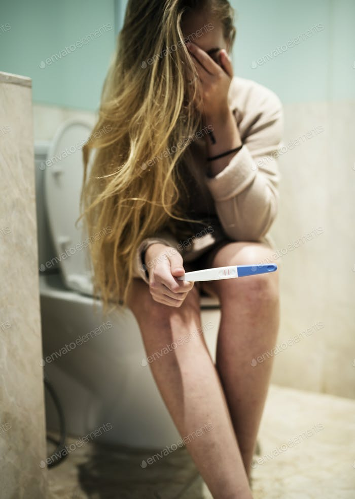 A depressed woman with a positive pragnent test