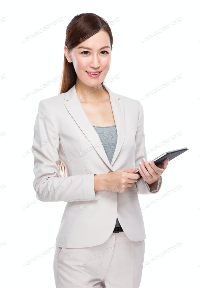 Businesswoman hold with tablet