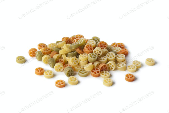 Colored raw  Ruote Tricolore pasta
