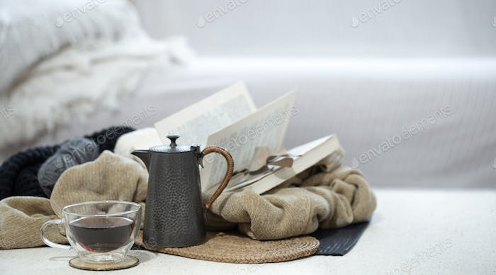 Still life of home comfort and warmth. Autumn concept