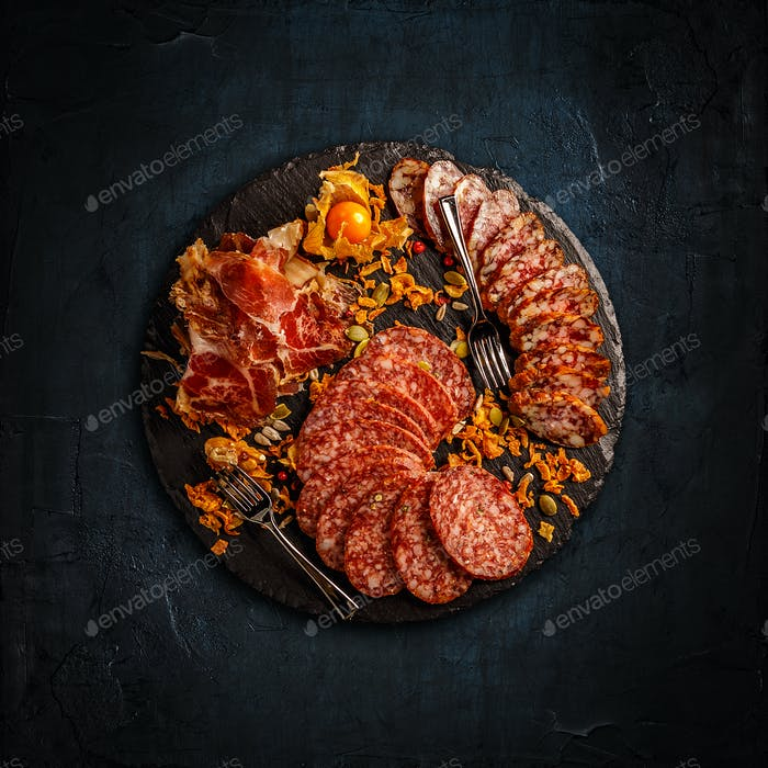 Prosciutto, salami and sausages