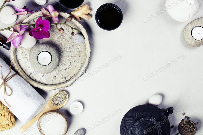 Natural SPA concept on grey concrete background, close up