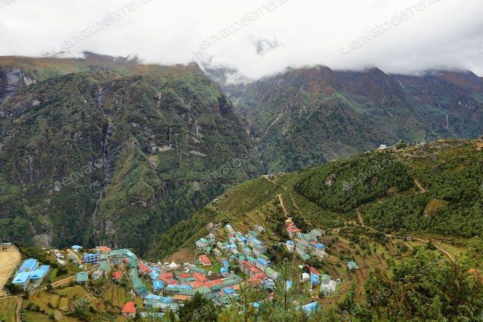 Namche Bazaar village, Nepal Himalaya.