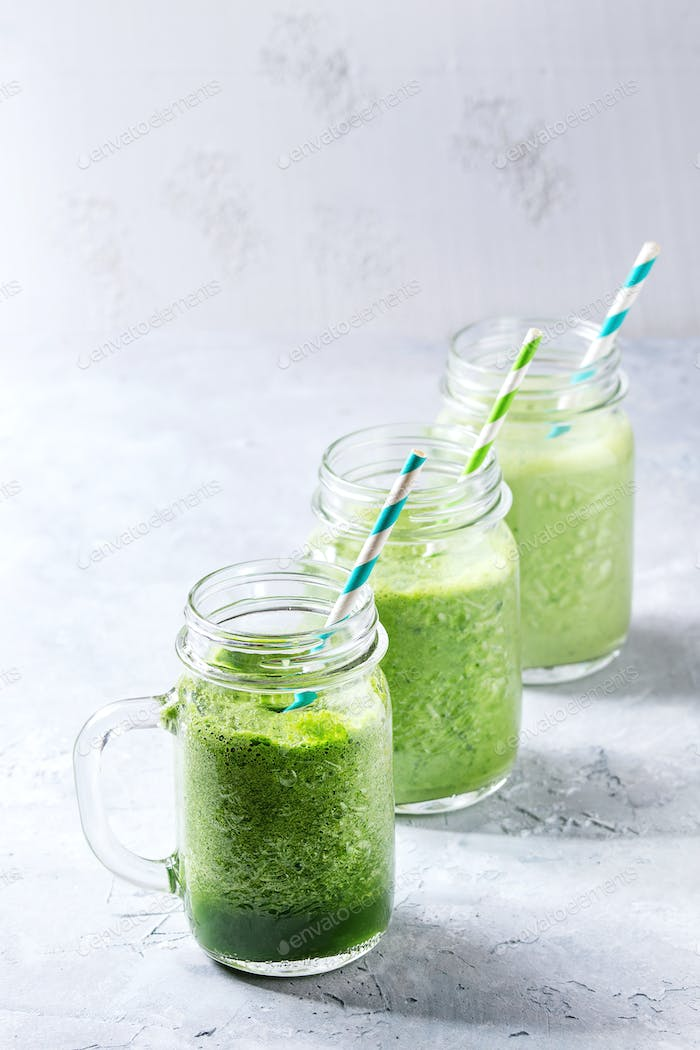 Variety of green smoothie