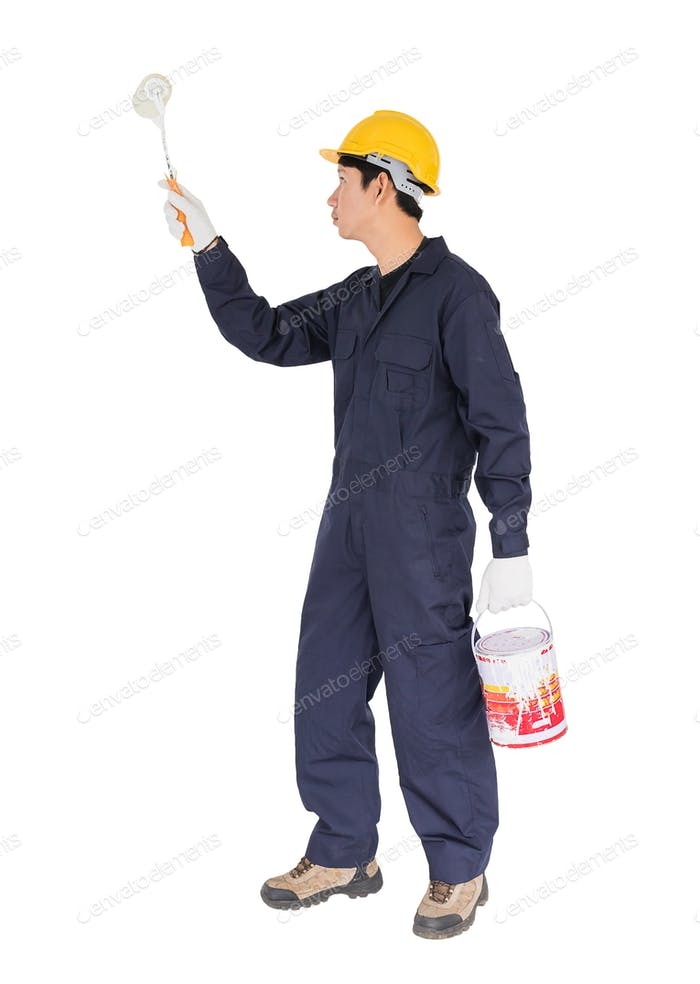 Worker in a uniform using a paint roller