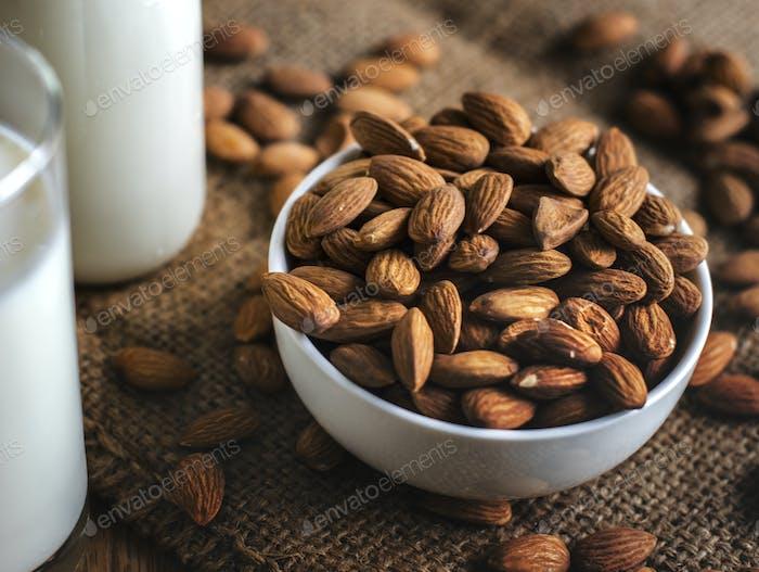 Organic almond milk and almonds