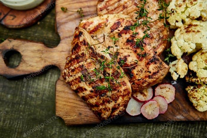 Grilled turkey meat.