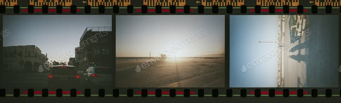 Beach and summer vibes in a film strip