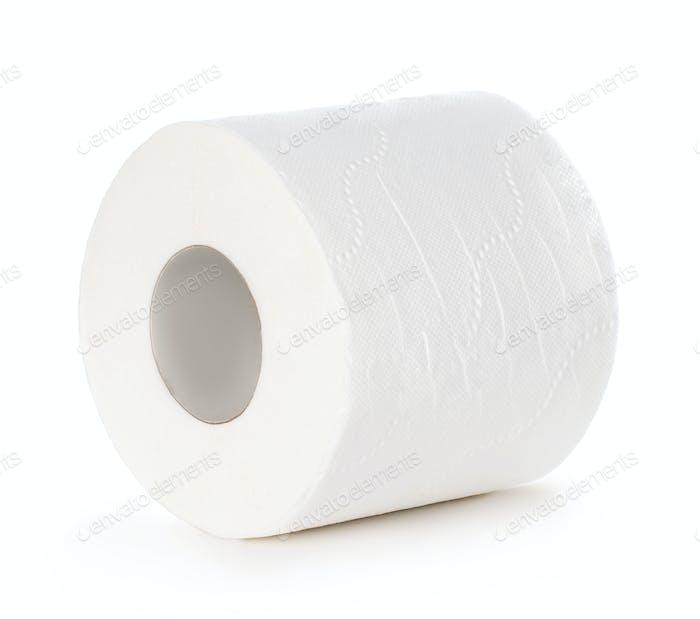 Toilettenpapier auf weißem Hintergrund isoliert.