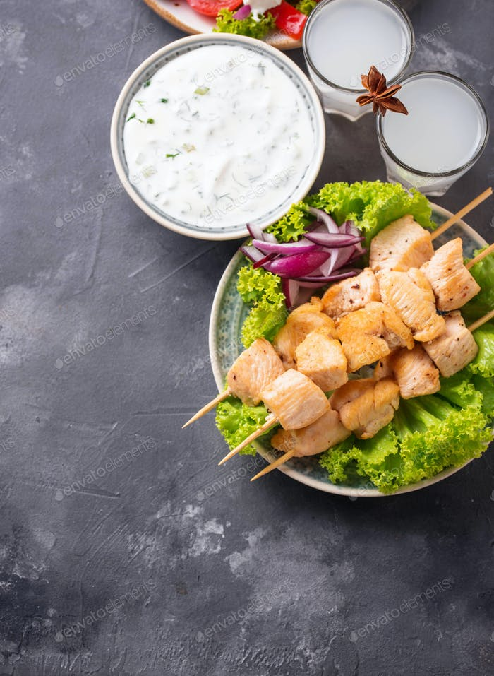 Tzatziki sauce, souvlaki and traditional greek dishes