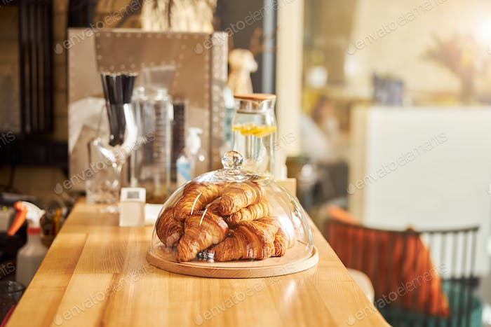 Delicious pastry in lovely coffee house without people