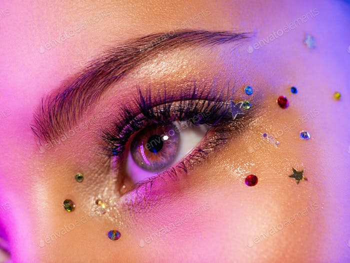 Colorful makeup. Bright and intense makeup.
