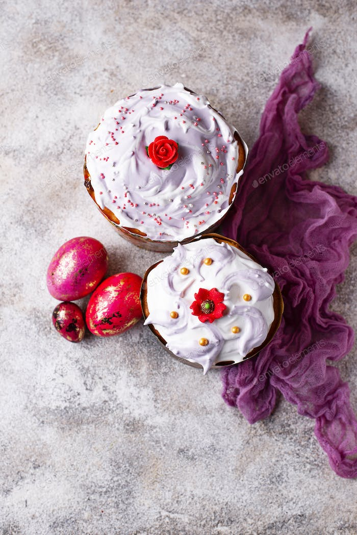Traditional Easter cake with painted eggs