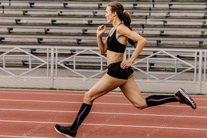 girl athlete running