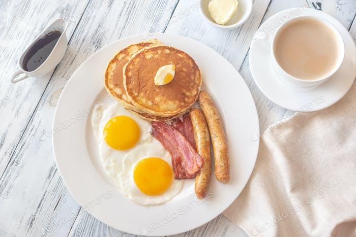 Portion of American breakfast
