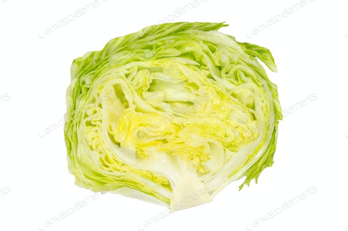 Iceberg lettuce half from above on white background