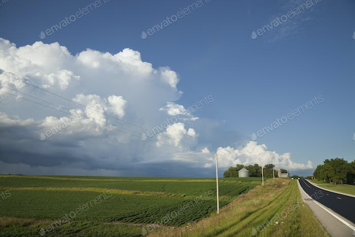 Rural Road by Fields and Clouds