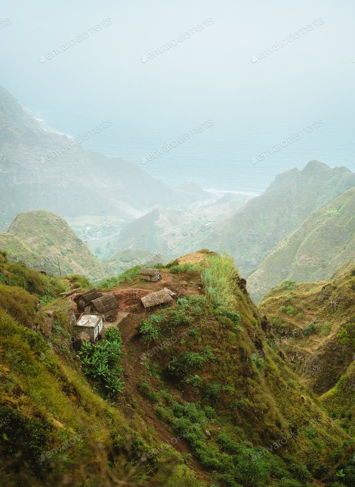 Santo Antao Cape Cabo Verde. Local village on mountain top on hiking trail in Ribeira de Janela