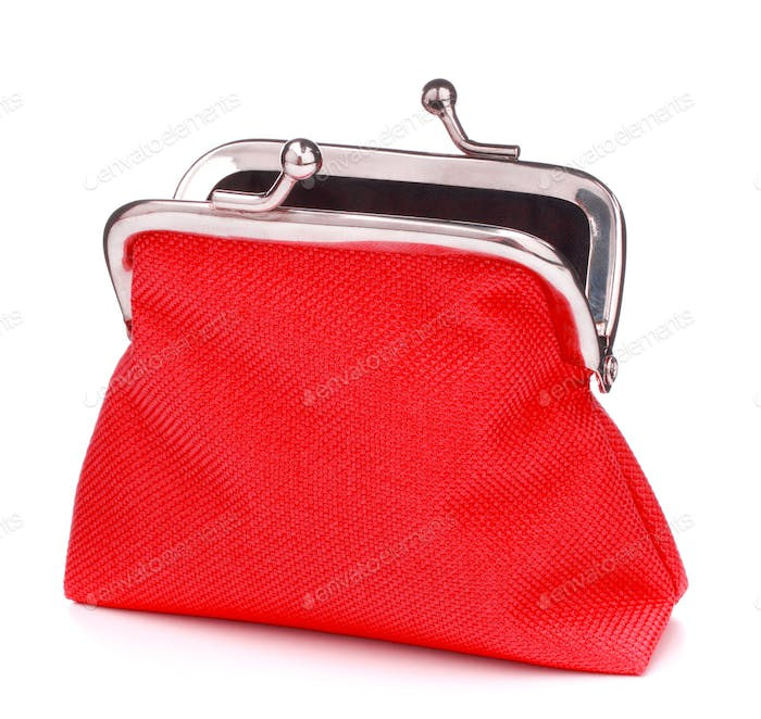 red cash wallet isolated over white background. Charge purse. Open empty coin wallet..