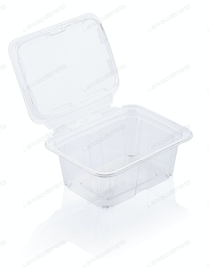 Empty transparent plastic food container isolated on white with clipping path