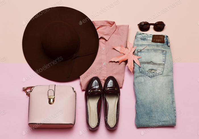 Fashionable Outfit for Lady Shoes and hat. Denim. Stylish Access