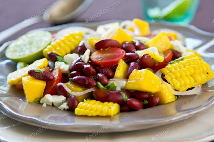 Beans with  Mango and Feta cheese salad