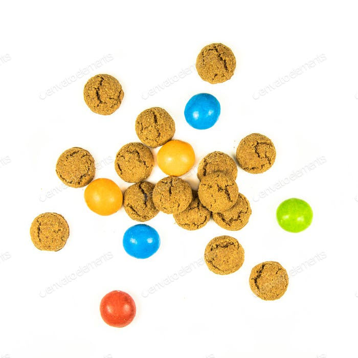 Bunch of scattered pepernoten cookies