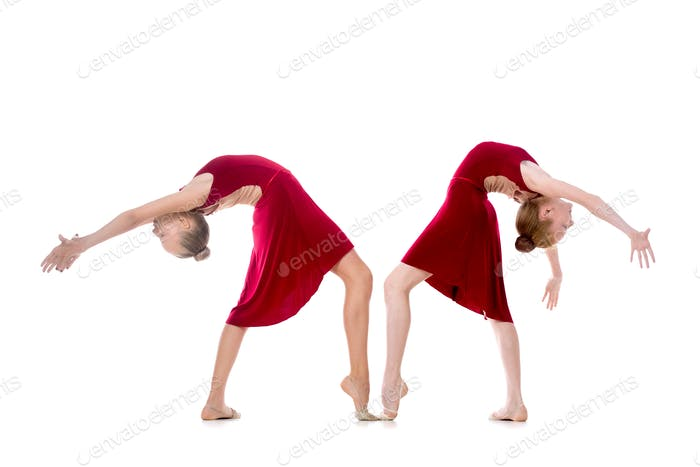 Two beautiful girls doing dancing backbend