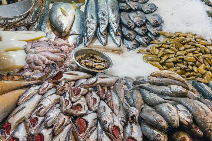 Fish and seafood at the Mercado Central in Santiago