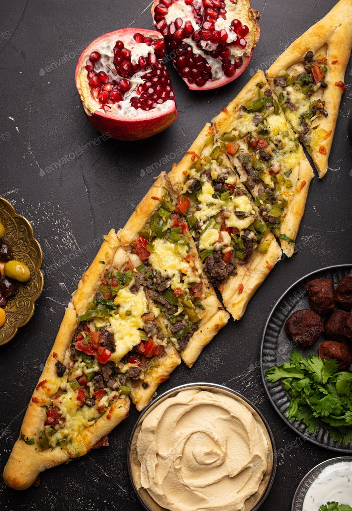 Turkish pizza pide from above
