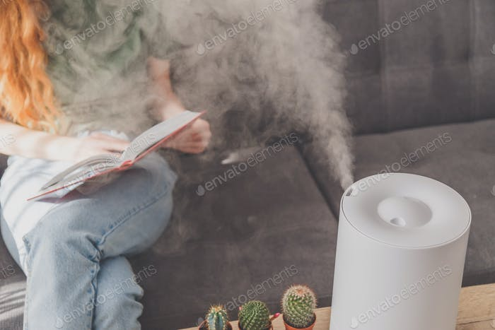 Household humidifier at home on table near woman reading on sofa