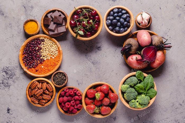 Gesunde Lebensmittel mit hohem Antioxidantien.