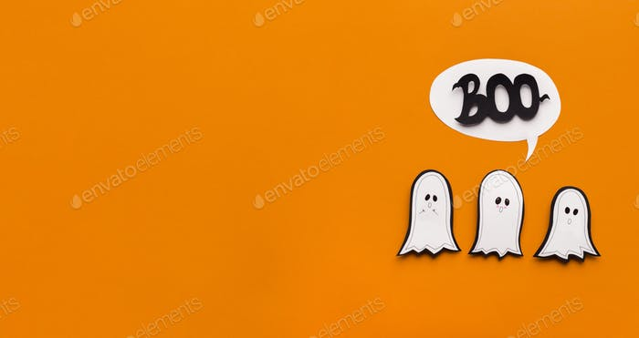 Three cute ghosts trying to be scary and saying boo on orange