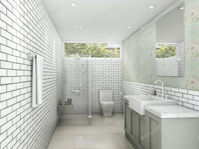 3d rendering white brick style with wallpaper bathroom and restroom