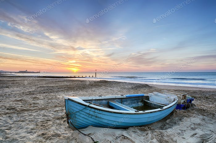 Blue Boat at Sunrise