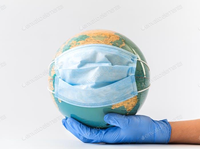 Coronavirus 2019-NCOV. Konzept schützen die Welt vor Infektionen und Ausbreitung des Virus.