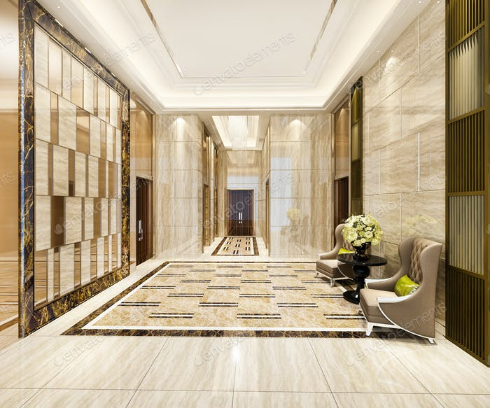 3d rendering luxury lobby with armchair near corridor