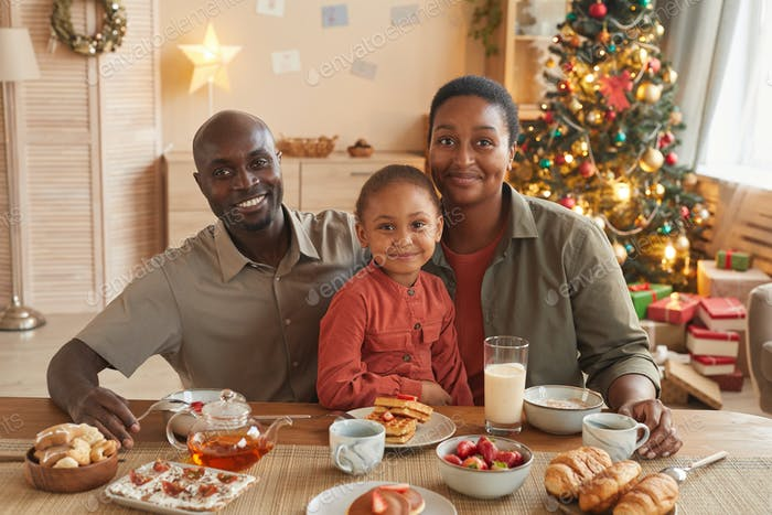 Happy African-American Family Home on Christmas